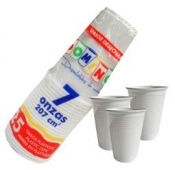 Vaso plástico 7 oz blanco Domingo referencia 9116