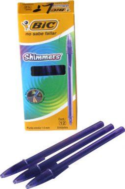 Esfero retráctil negro BIC Shimmers caja x 12