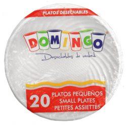 Plato plástico 15 cm blanco paquete x 20 Domingo referencia 9150