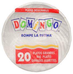 Plato plástico 23 cm blanco paquete x 20 Domingo referencia 9152