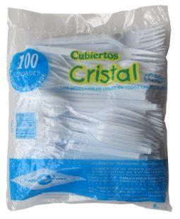 Tenedor grande blanco paquete x 100 Cristal referencia 9169